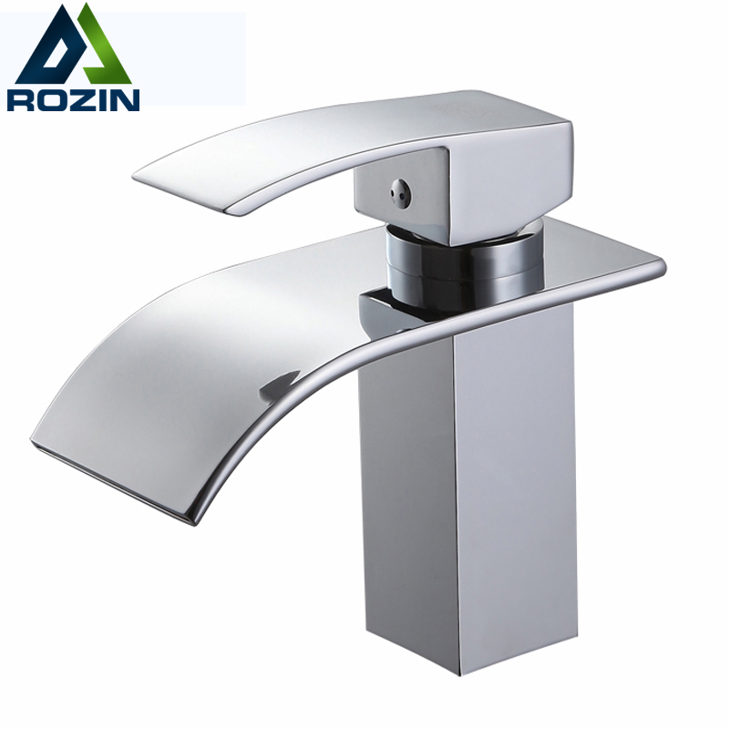 Wholesale and Retail Waterfall Bathroom Vanity Sink Faucet Single Lever Chrome Brass Hot and cold Basin Washing Taps
