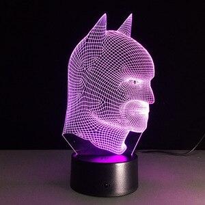 Image 3 - Batman Superhero Novelty Lamp 7 Color Changing Visual Illusion LED Light Toy Action Figure Birthday Gift