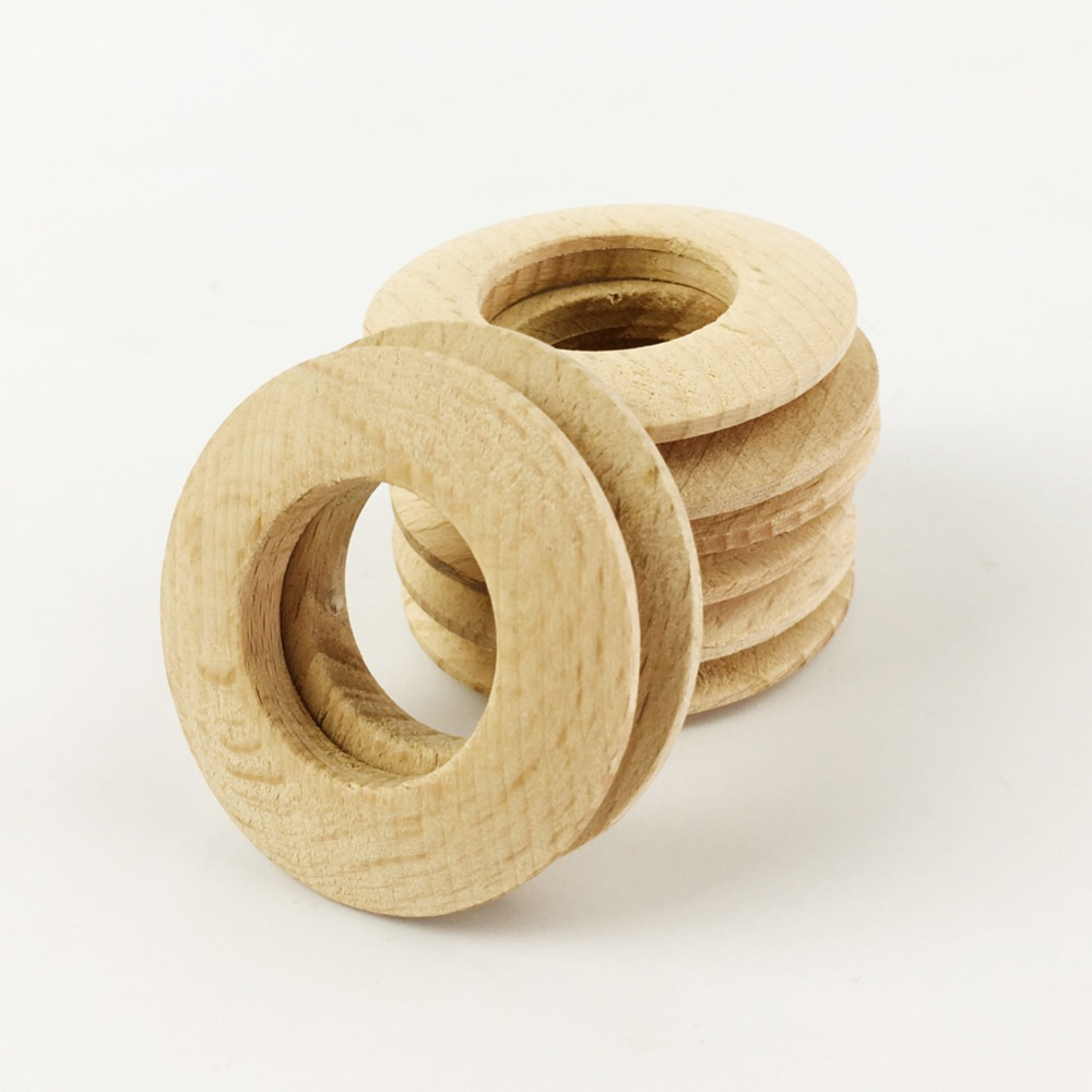 Wooden circles for crafts - Ring Wooden Donuts Circle 50mm 60pc Unfinished Nat