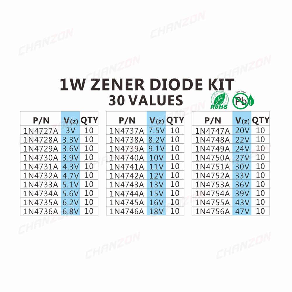 1 Вт туннельный набор разнокалиберных диодов (3 V 3,3 V 3,6 V 5,1 V 5,6 V 7,5 V 10 V 12 V 13 V 15 V 16 18 20 22 24 V 30 V 33 V, 47 (Европа) v) ассортимент Набор