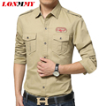 LONMMY M-4XL Mens dress shirts 100% cotton Striped shirt mens shirts camisas men clothes slim fit Long sleeve military army NEW