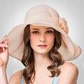 2016 nova moda Casual dobrar Uv protetor solar de seda chapéus de sol Lady Outdoor viagens Sun Cap elegante mulheres coreano estilo chapéu de sol B-3210