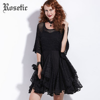Rosetic Gothic Dress Women Black Summer A Line Lace Hollow Flare Sleeve Double Casual Party Fashion
