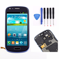 Blue LCD Display+Touch Screen Digitizer Assembly+Bezel Frame+Tools Replacements for Samsung Galaxy S3 mini i8190 Free Shipping