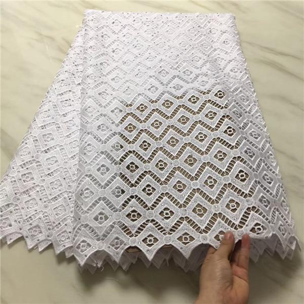 Wit afrikaanse koord kant stoffen hoge kwaliteit voor vrouwen jurk 2018 nieuwste guipure kant stof met srone-in Kant van Huis & Tuin op  Groep 1