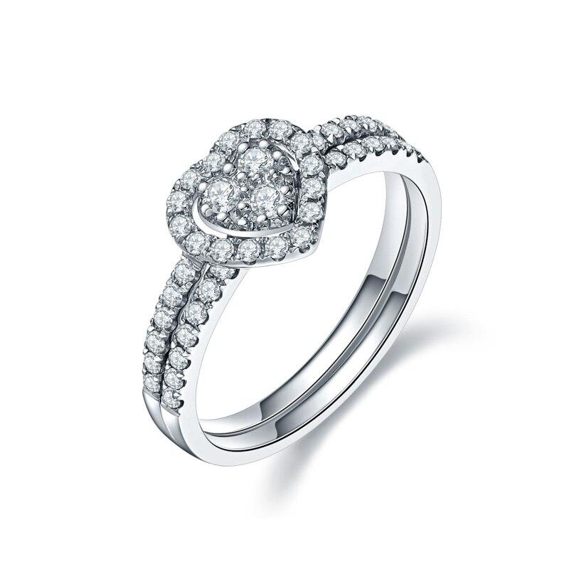 ZHJIASHUN trois pierre Moissanite contes de fées romantique 14 k 585 bague en or blanc pour les femmes diamant bijoux fins