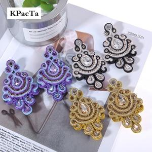 Image 1 - KPacTa Fashion Soutache Earring Ethnic Style Jewelry Women Crystal Handmade Drop Earring Accessories boucle doreille femme 2018