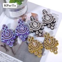 KPacTa pendientes de estilo étnico para mujer, joyería de cristal hecha a mano, aretes de gota, accesorios, 2018