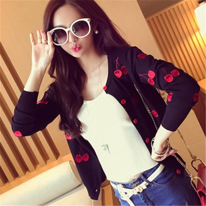 Autumn-spring-women-Sweater-cherry-Embroidery-Pattern-slim-slim-all-match-lady-style-knit-cardigan-jacket