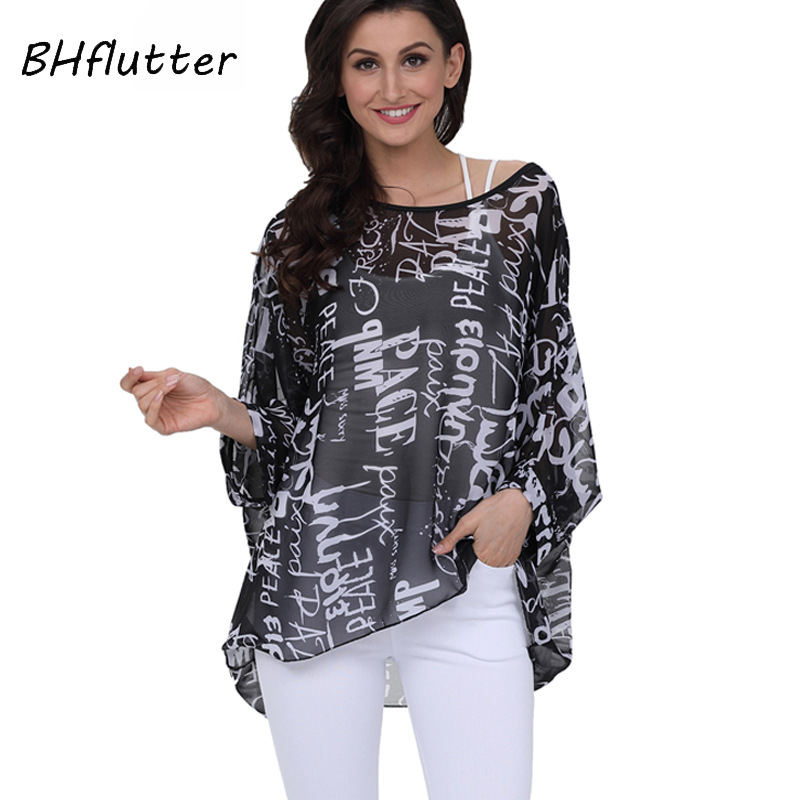 BHflutter 4XL 5XL 6XL Plus Size Women Clothing 2018 New Chiffon Blouse Shirt Batwing Sleeve Letters Print Summer Tops Blouses