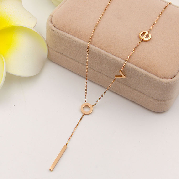 South Korea does not fade titanium Rose Gold color letter love pendant accessories chain necklace all-match clavicle for women
