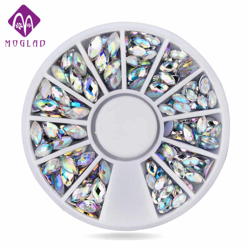 New  100pcs/set  Crystal AB Nail Art Rhinestones, 2 sizes Fashion Glitter Nail Beads Craft,Beauty Manicure Nail Decorations