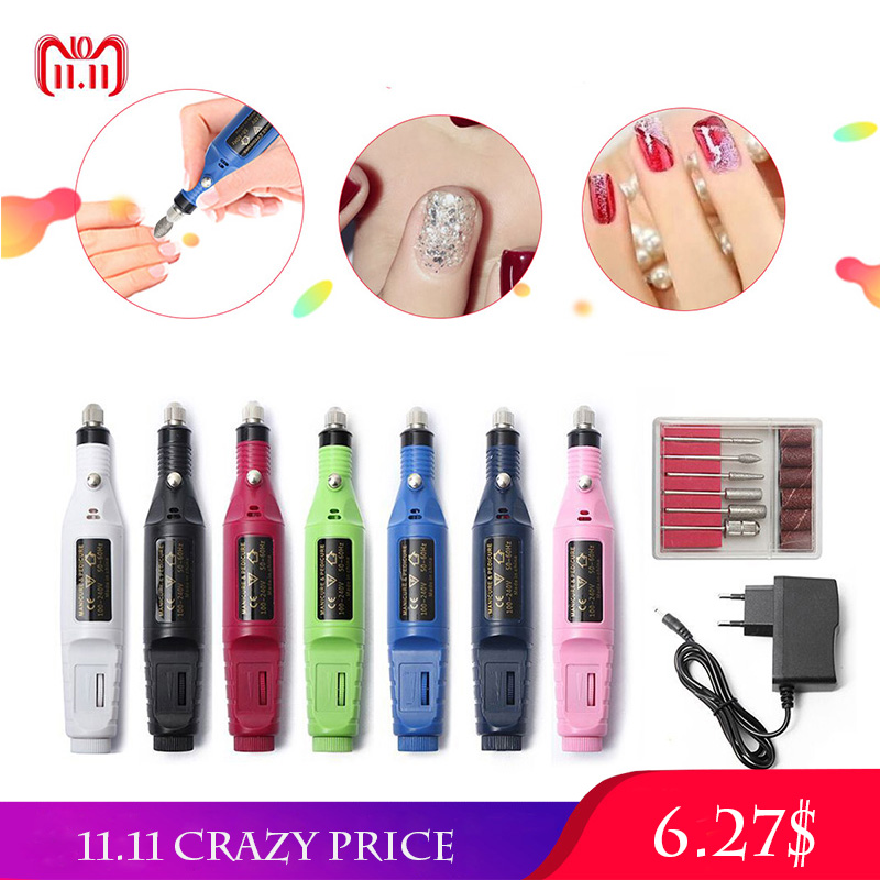 1set 6bits Power Drill Professional Manicure Machine Nail Electric Drill Pen Pedicure File Polish Shape Tool Feet Care Product power drill professional electric manicure machine with dust collector lamp drill bits pedicure file polish shape tool