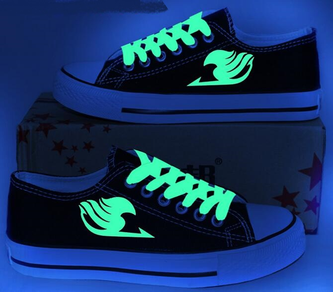Unisex Men Anime Fairy Tail Canvas Shoes New 2017 Teenagers Lace Up Casual Shoes Luminous Free