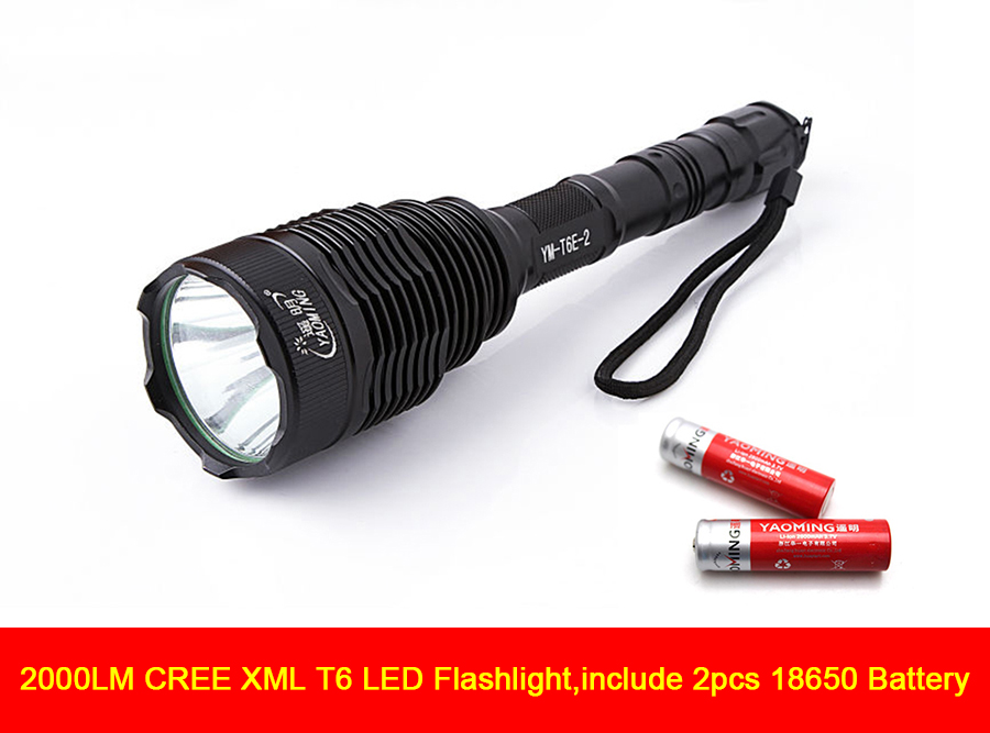 High power 2000LM CREE XML T6 LED flashlight waterproof police led torch light 1000 meters lamp for 18650 equipment high quality zoomable cree xml t6 model 1000 lm led outdoor long shots flashlight 18650 torch high light