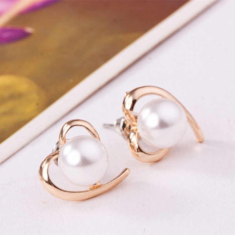 E0150 Korean Style Pearl Earrings Cute Peach Heart Love Heart Stud Earrings For Women Fashion Party Wedding Jewelry Wholesale