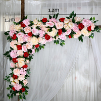 120cm Simulation Hydrangea Rose Flower Row Outdoor Wedding Party Arch Decoration Design Floral Set Hotel Background Decor Fleur