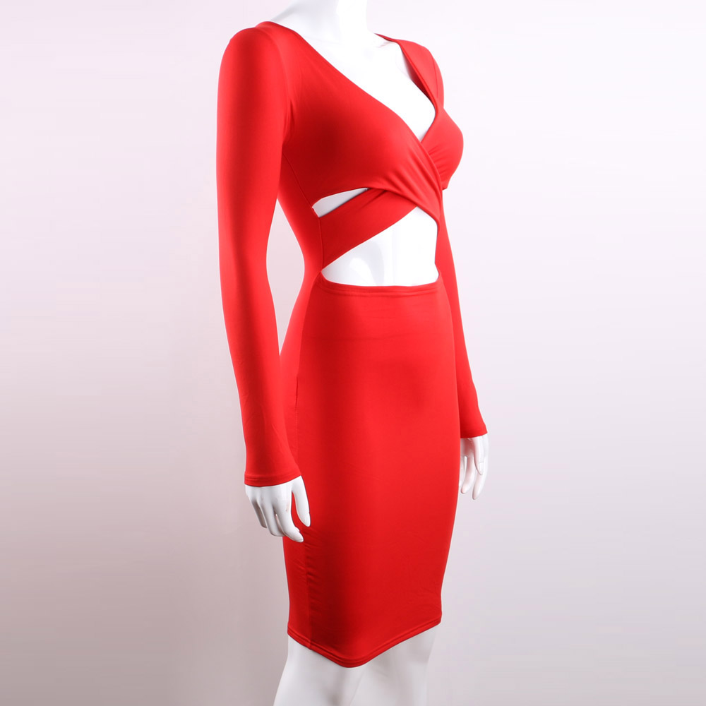 7d1ce17769 Nadafair Red Black White Long Sleeve Elastic Cotton Warm Party Dresses  Vestidos Sexy Midi Pencil Club Bodycon Bandage Dress