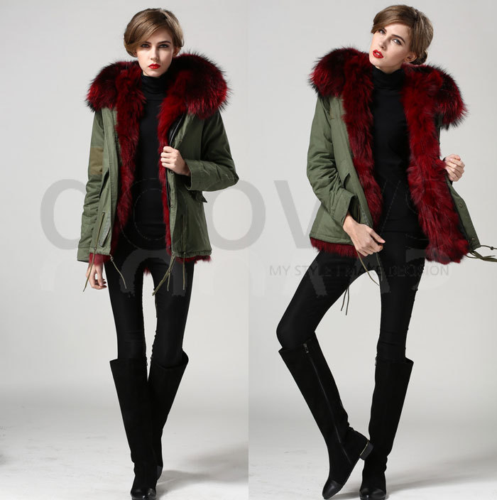 Anggur merah nyata bulu rubah kerah mantel bulu rubah nyata jaket - Pakaian Wanita - Foto 2