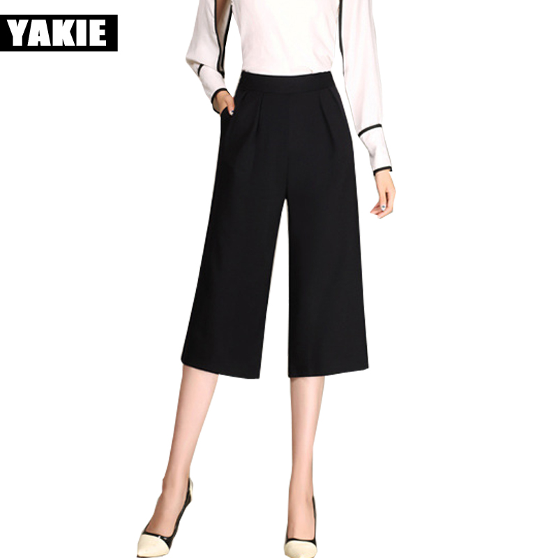 Brand New 2017 summer Wide Leg Pants Black Sexy Ankle-Length Culottes Pants capri 4xl Plus Size Loose Women Clothing Pants Woman