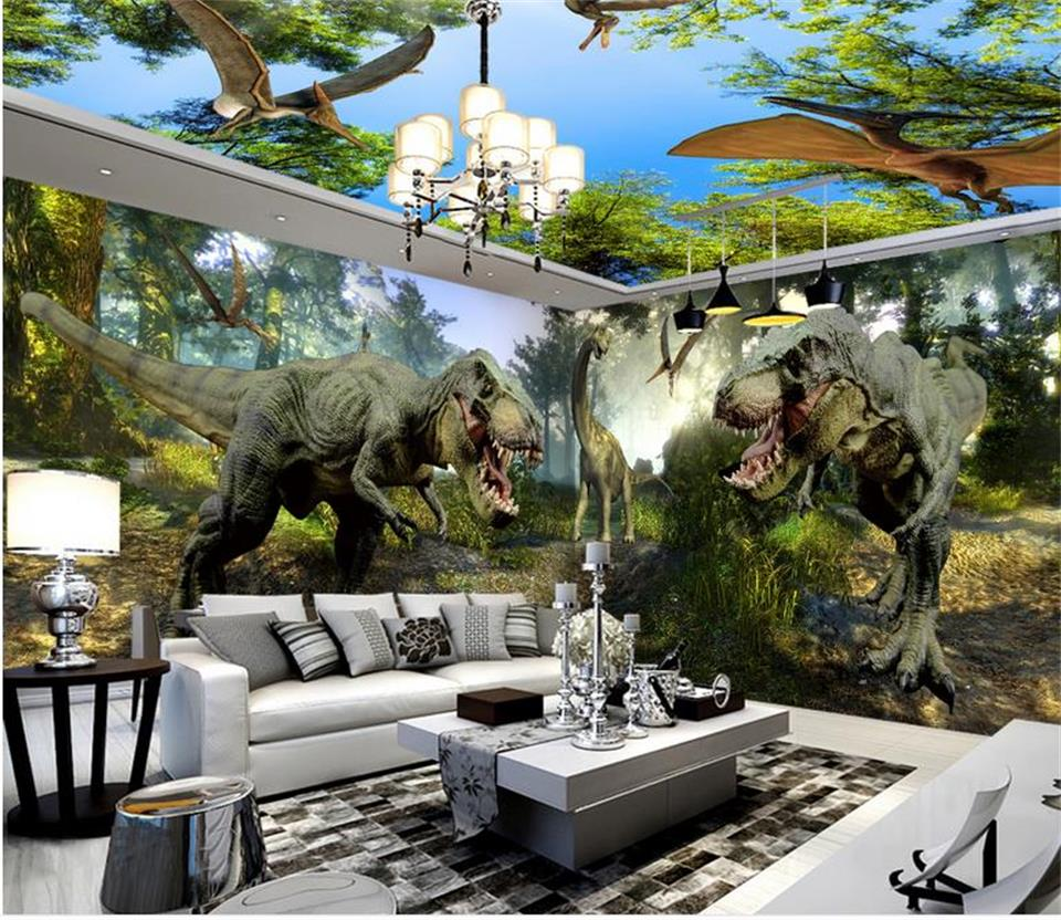 3d wallpaper photo wallpaper custom kids mural living room Jurassic era dinosaurs 3d painting TV background non-woven sticker