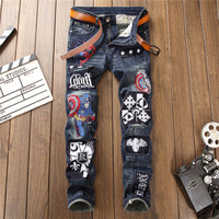 dark-distressed-embroidered-american-captains-badge-men-splicing-slim-small-straight-jeans-8022