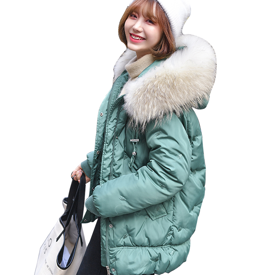 2019 Casual Jacket women winter down-cotton plus size 3XL large fur collar hooded warm thick coats female outwear   parka