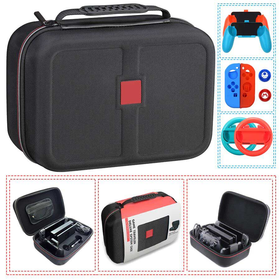 Nintend Switch NS Accessories Console Carrying Storage Bag Hard Case Joy-con Handle Grips + Silicone Case For Nintendo Switch