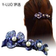 Women headwear 2017 flower hair clip girls oneline vimtage barrettes rhinestone accessories for women