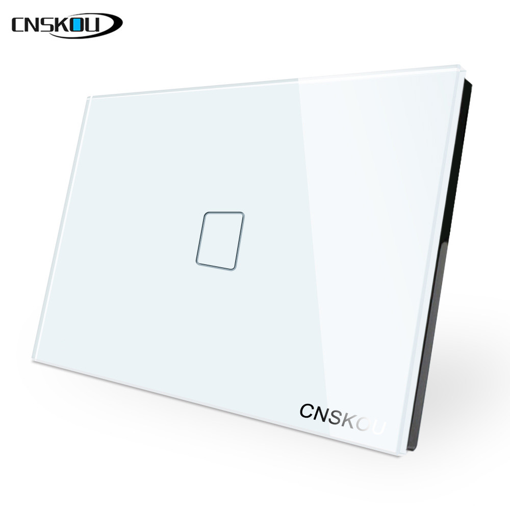 cnskou smart home us  au 1 2  3 gang 1 way touch switch  crystal glass panel ac110