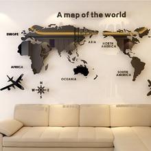 2018 novo mapa Do Mundo de parede do quarto de cristal Acrílico 3D sólida com idéias de decoração de sala de estar da sala de aula adesivos escritório