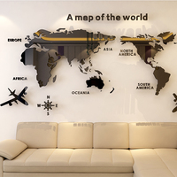 World map Acrylic 3D solid crystal bedroom wall with living room classroom stickers office decoration ideas