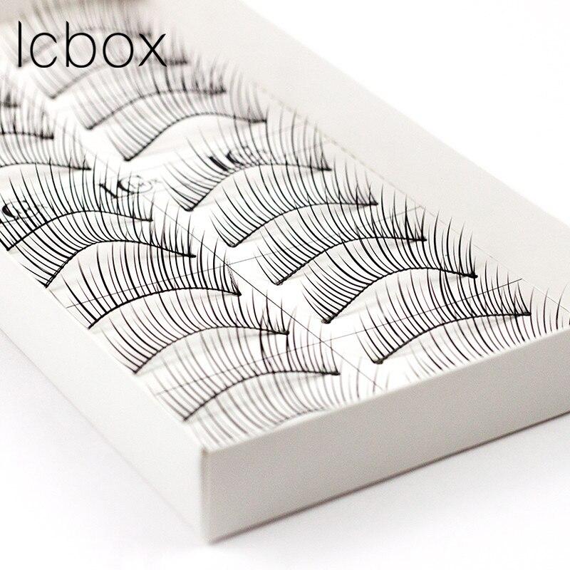 LCBOX 10 Pairs Comfortable Human hair Natural Long Cheap False Eyelashes for Makeup Beauty Eye Lashes Extension set