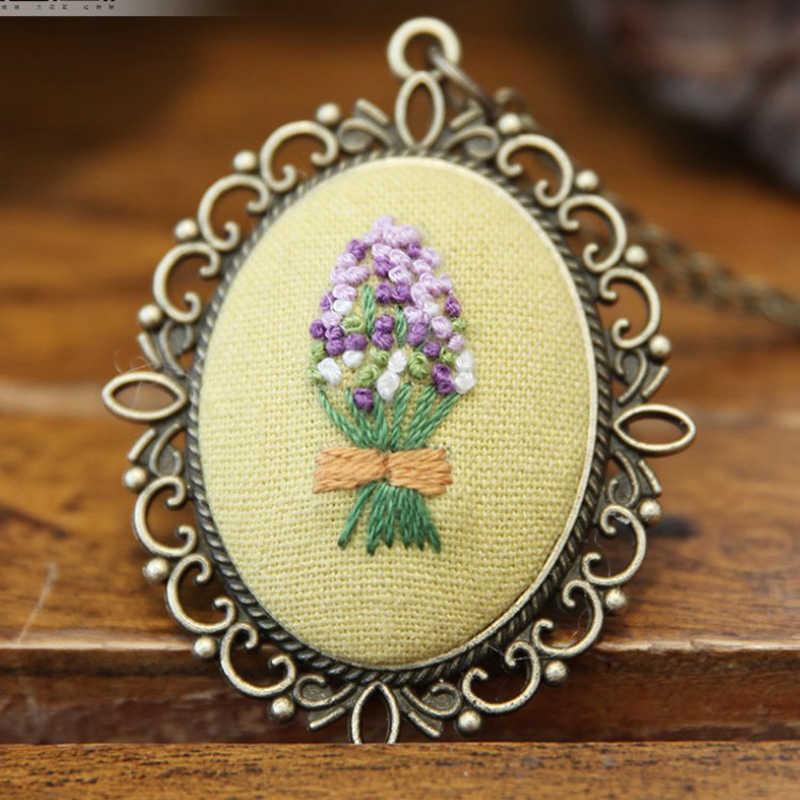 Diy Bordir Pemula Mengatur Digunakan Dicetak Menjahit Pola Bunga Eropa Retro Cross Stitch Kit dengan Lingkaran Kalung Liontin