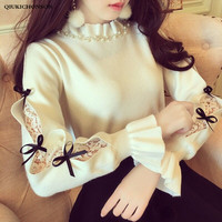 Japanese style cute women beading frilled half turtleneck sweater ribbon bow lace patchwork knitted pullover jumpers ladies tops