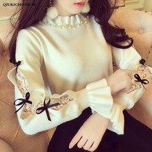 Suéter de cuello alto Medio con volantes para mujer, suéter de cuello alto Medio con cuentas de perlas de estilo japonés, suéter de punto con Lazo de cinta, tops de mujer