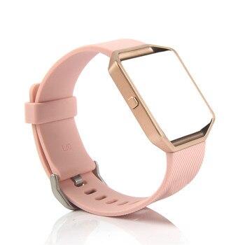 Bemorcabo cho Fitbit Ngọn Lửa Ban Nhạc, Vòng Đeo Tay Silicon Thay Thế Dây Đeo với Rose Gold Khung cho Fitbit Ngọn Lửa Thông Minh Tập Thể Dục Đồng Hồ