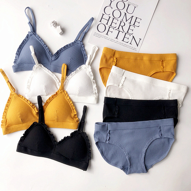 Fashion Women Bra Panty Set Sexy Push Up Lingerie Set Wireless Bra Low Waist Brief Cotton Underwear Set