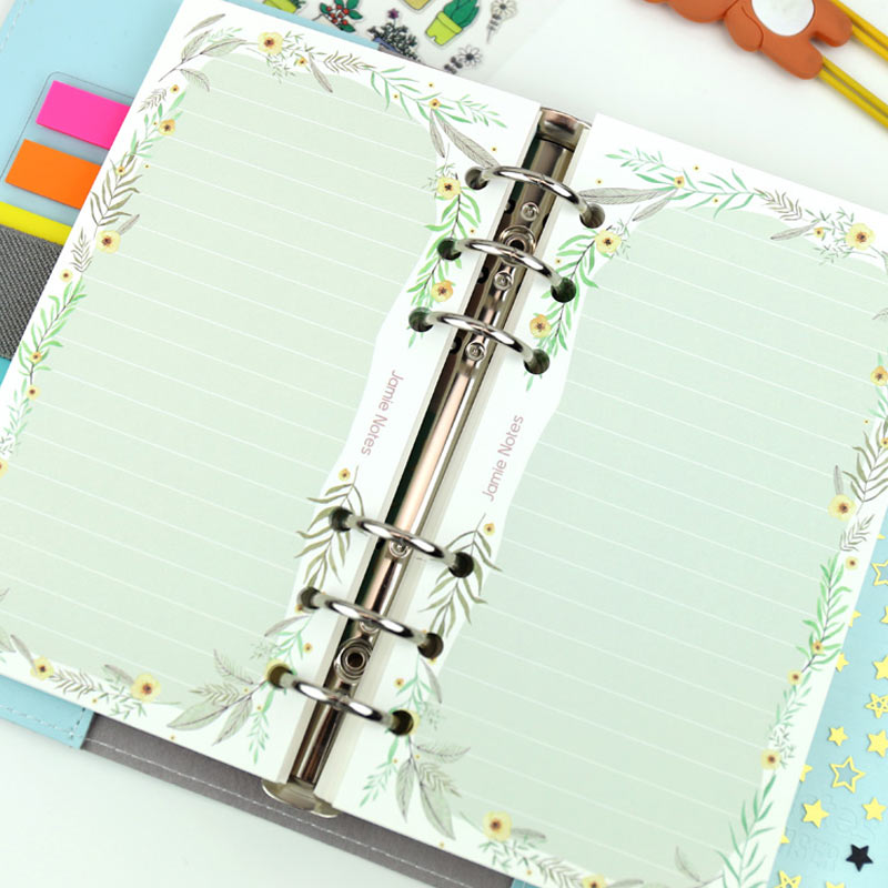 Yiwi A5 A6 Line Flower Inner Page For Binder Notebook Matching Filofax Refill Inner Paper 40 Sheets