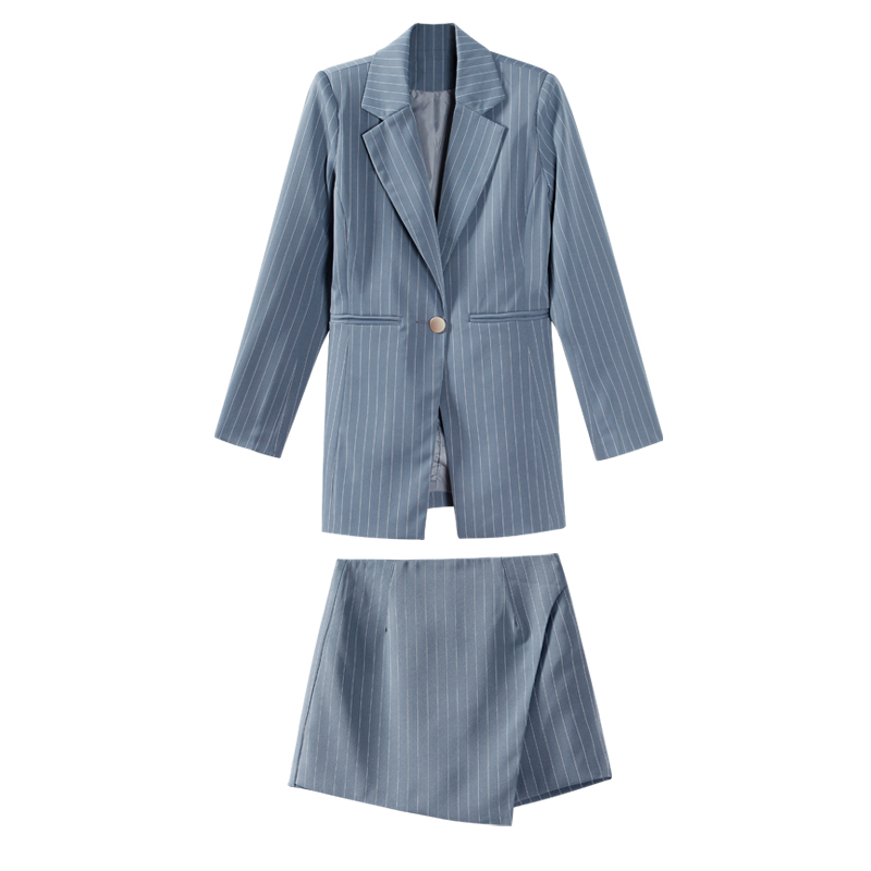 Fashion Women Skirt Suits One Button Notched Striped Blazer Jackets and Slim Mini Skirts Two Pieces OL Sets Female Outfits 19 13