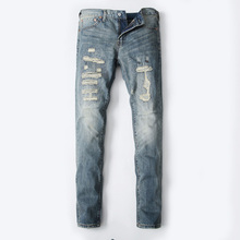 2017 High Quality Dsel Brand Men Jeans Fashion Designer Distressed Ripped Jeans Men Straight Fit Jeans Home,8001