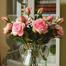 Свадебные украшения, высокое качество, искусственные цветы, яркие, настоящие, на ощупь, розы, искусственный шелк, цветок невесты, домашний декор, 2 головы/Букет