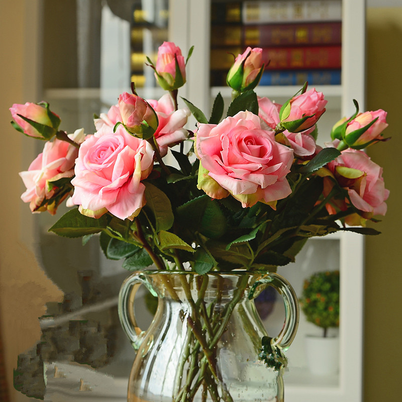 Décoration de mariage haute qualité fleurs artificielles vif réel toucher roses artificielle soie fleur mariée décor à la maison 2 têtes/bouquet
