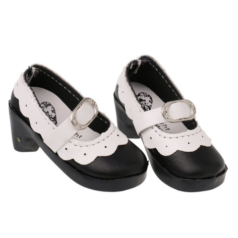 1 Pair Lace up PU Leather Lolita Strap Shoes Block Heel Shoes for 1/3 BJD SD AOD Dollfie Doll Shoes Doll Clothes Accessories Lahore