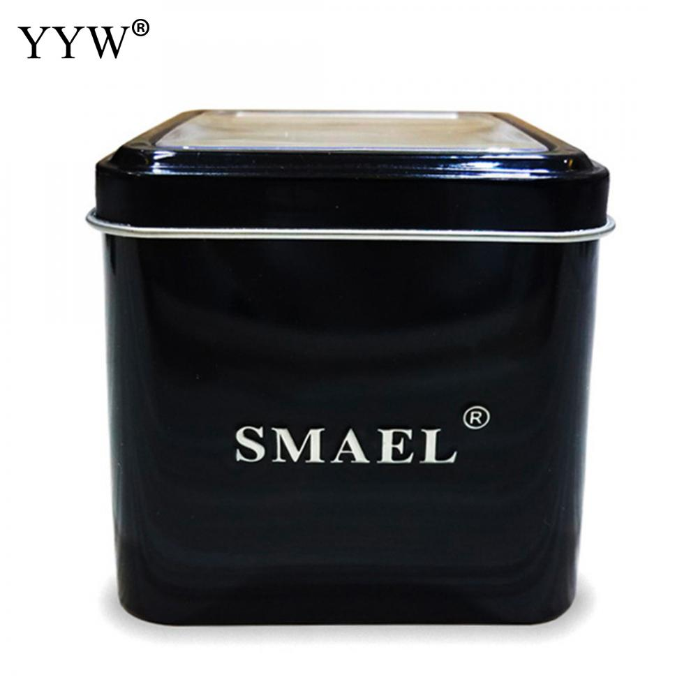 1PC SMAEL Gift Box for Sport Watches Mental Box Men Watch Accessory LED Digital Watch Box Protection Sqaure Black Box for Watch