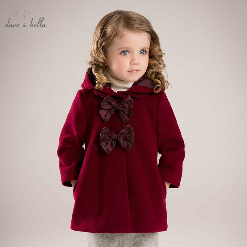 DB5985 dave bella winter infant baby girl big bows Jackets toddler girls wine Hooded outerwear children