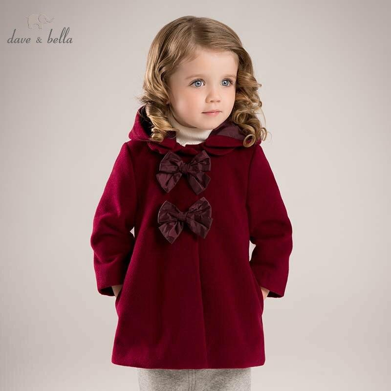 DB5985 dave bella hiver infantile bébé fille grand arcs Vestes enfant filles vin survêtement À Capuchon enfants hight qualité manteau