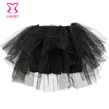 Womens Black 4 Layers Mesh Tulle Skirt Sexy Corsets Petticoat Adult Tutu Women Saia Cub Party Dance Wear Ball Gown
