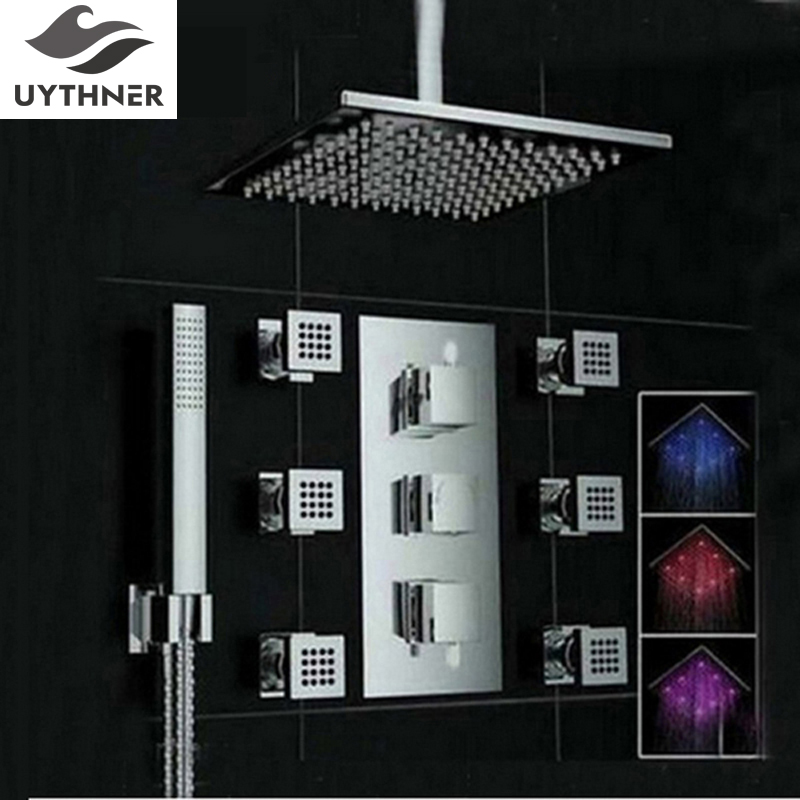 Uythner Ceiling Mounte 3 Color Changing Square Rain Shower Head Thermostatic Valve Mixer Tap W/ Massage Jets Shower Sprayer shower set wall mounted massage jets thermostatic mixer valve bathroom spa panel faucet led ceiling shower head rain mist bubble