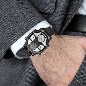 Image 5 - 2020 ビッグダイヤルブラックデュアルディスプレイ軍男は革バンド鋼男性男性クォーツ時計腕時計時計 waches 男性 whatch